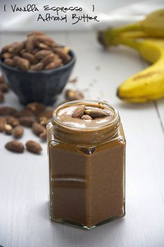 A homemade version of a store bought favorite! Roasted almonds mixed with vanilla beans and espresso for an energy charged almond butter!