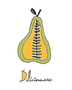 Pear Art Print 2 by ArtByKellie on Etsy