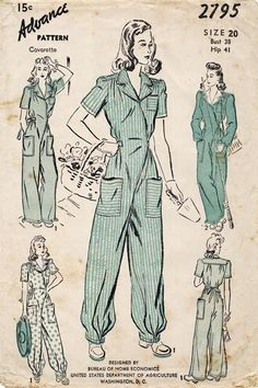 Retro Sewing WWII jumpsuits this is what women wore while working in factory's and other areas, while our proud men were in the Military K Fashion, Fashion History, Fashion Pants, Fashion News, Fashion Sewing, Woman Fashion, Ladies Fashion, 1940s Fashion Women, Fashion Sites