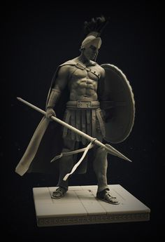 Spartan Warrior, Stephen Clark on ArtStation at… Greek Warrior, Fantasy Warrior, Vikings, Spartan Warrior, Greek Art, 3d Prints, Sculpture Clay, Greek Gods, Ancient Greece