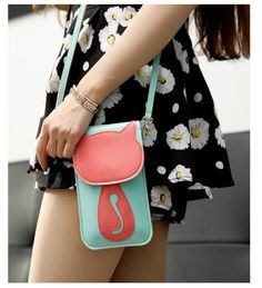 Women's Bags & Handbags Women Cute Cartoon Bag Leather Cross Body Shoulder Phone Coin Purse Little Bag Leather Purses, Leather Wallet, Leather Bag, Cartoon Bag, Cell Phone Pouch, Phone Cases, Cat Bag, Pouch Bag, Purse Wallet