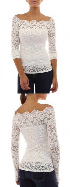 White Lace Off Shoulder Long Sleeve T-shirt. This paired with a matching white floor-length jersey skirt would make a beautiful alternative wedding outfit that you can wear separately long after the wedding. Look Fashion, Fashion Outfits, Womens Fashion, Lingerie Look, Casual Outfits, Cute Outfits, Shirt Bluse, Trendy Dresses, Lace Tops