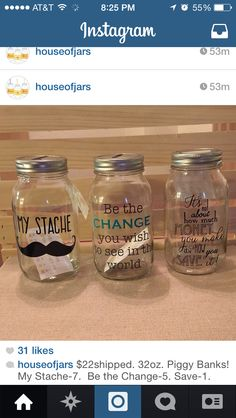 Houseofjars on etsy mason jar piggy bank ideas