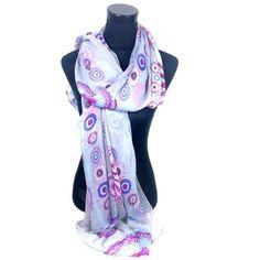 Leuke sjaal met bloemen print grijs met paars