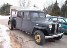 4 door willys truck, black,