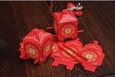 Chinese Traditional Red Bridal Sedan Chair Style Wedding Bridal Shower favor candy boxes