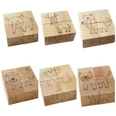 wooden toy animal block puzzle by littlesaplingtoys on Etsy: