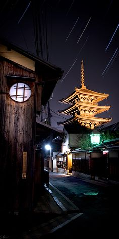 Pagoda Kiyomizu temple at night. Kyoto, Japan