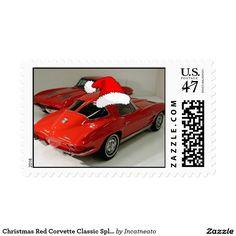 Christmas Red Corvette Classic Split Window Stamp