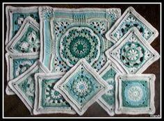 Crochet Blocks, Crochet Squares, Crochet Granny, Crochet Motif, Crochet Yarn, Crochet Patterns, Granny Squares, Crochet Ideas, Knitted Afghans