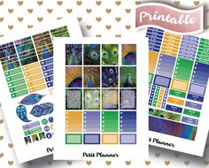 Peacock Stickers // Peacock Feathers // Full Box Stickers // Erin Condren Life Planner // Printable Stickers // Erin Condren Life Planner // Monthly set // Planner Stickers // Stickers By Petit Planner on Etsy