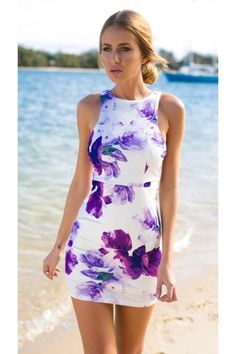 Purple Floral Print Cutout Side Bodycon Dress | USTrendy