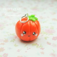 Pumpkin Kawaii Charm Polymer Clay Miniature Food Jewelry Handmade by Sweet Clay Creations
