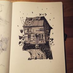 House an art print by Alfredo Cáceres Art Prints, Ink Art, Illustration, Inprnt, Archival Paper, Giclee Art Print, Drawing Sketches, Art, Humanoid Sketch