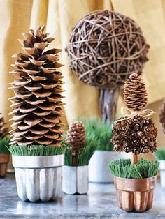 Beautiful twist on pine cone decorating.