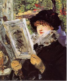 """Woman Reading"" Édouard Manet French, Woman Reading, Oil on canvas 24 x 19 in. x cm) Inscribed lower left: Manet The Art Institute of Chicago Reading Art, Woman Reading, Reading Books, Edouard Manet, Post Impressionism, Impressionist Paintings, Art Paintings, Painting Art, Renoir"