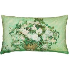 Fleur De Lis Living Rackers Vase with Pink Roses Lumbar Pillow Burlap Throw Pillows, Green Throw Pillows, Throw Pillow Sets, Outdoor Throw Pillows, Lumbar Pillow, Bird Pillow, Van Gogh Paintings, Pink Home Decor, Pink Roses