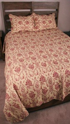 King Quilt Set Ivory Tan Medallion Toile French Country Cameo Cotton Bedding