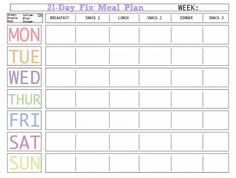 Here is a BLANK Meal Plan Template you can use.
