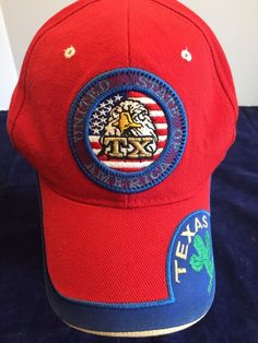 0758fab8c7a TX United States of America Red Baseball Cap. The logo on the cap is very