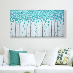 """""""Modern Wall Art Picture Home Decoration Skyblue Tree Romantic Leaf Rain Large Living Room Decor Hand Painted Canvas Oil Painting"""" Oil Painting Frames, Oil Painting Pictures, Hanging Paintings, Oil Painting On Canvas, Oil Paintings, Crafts With Pictures, Wall Art Pictures, Deer Pictures, Love Wall Art"""