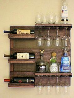 Wine and Other Alcohol Rack, and Glass Holder Made From Pallet Board  Wine and Other Alcohol Rack, and Glass Holder Made From Pallet Boards. #WoodworkingPlansWineRack