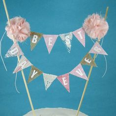 Burlap Cake banner  blush lace cake bunting by Hartranftdesign, $36.00