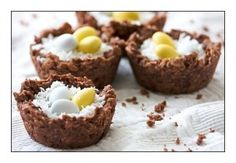 Easter Chocolate Crackle Nests •4 cups rice bubbles •1 cup icing sugar •1 cup dessicated coconut •5 tablespoons cocoa powder •250g Copha, melted