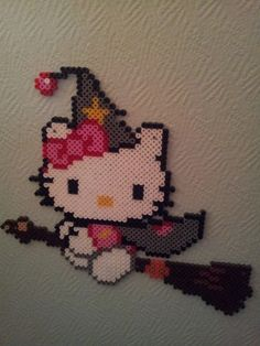 Hello Kitty witch hama beads by PERLERGIRLS