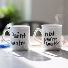 Never confuse your tasty brew with gunky paint water again. These handy mugs, lettered by illustrator Hallie Bateman, promise to prevent even the most unsavory
