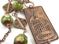 Bird Cage Necklace Etched Copper Necklace Green by ATwistOfWhimsy