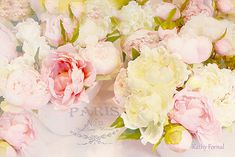 Paris Peonies Photography Floral Art, Paris Pink and Yellow Impressionistic Peonies, Romantic Shabby Chic Pink Yellow Peony Floral Wall Art