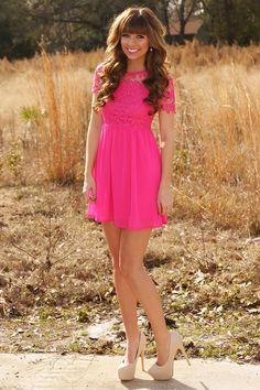 One Way Ticket Dress: Hot Pink
