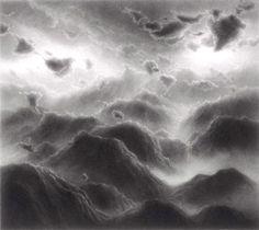 """by Hilary Brace 2008 Charcoal on mylar 4 x 4 1/2"""""""