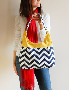 My newest purse!  I love it! Chevron Navy and Mustard Pleated Medium Purse by LucyJaneTotes, $65.00