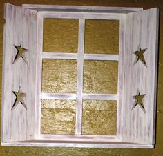 Primitive, Americana, Country decor Window shelf w shutters