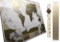 MyMap Antique Scratch Off map Large Gold World Map w/ EnLarge Europe and Caribbeans Map w USA States inc Detailed Push Pin Travel Map Poster To Mark Cities Anniversary Birthday Idea Gold Frame Wall, Frame Wall Decor, Frames On Wall, Father Birthday Gifts, Gifts For Father, Gold World Map, Vintage World Maps, 1st Anniversary Gifts, Scratch Off