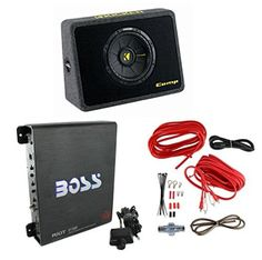 """New Kicker 40TCWS102 10"""" 600W Subwoofer + Box + Boss R1100M 1100W Amp + Amp Kit great opition"""