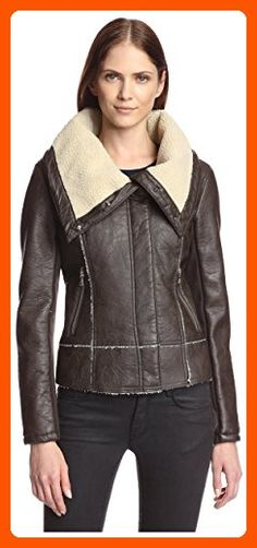 Sam Edelman Women's Amy Faux Leather Aviator Moto Jacket, Dusty Brown, XS - All about women (*Amazon Partner-Link)