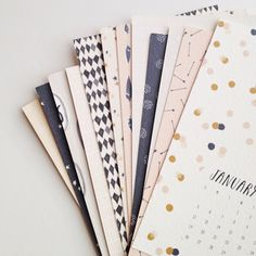 Patrón de & postal 2014 calendario por stationeryboutique en Etsy, $30,00