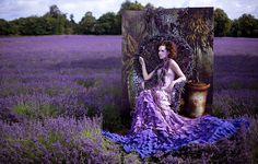 Wonderland : Portrait of a Princess (Kirsty Mitchell) Tags: girl fairytale purple lavender surrey fantasy wonderland kirstymitchell natashamusson elbievaneeden Weird Fashion, Fashion Art, High Fashion, Purple Fashion, Floral Fashion, Fashion Shoot, Style Fashion, Fashion Dresses, Fashion Design