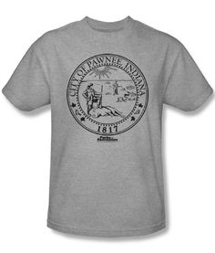 Adult Heather Gray Comedy TV Show Parks and Recreation Pawnee Seal T-Shirt Tee