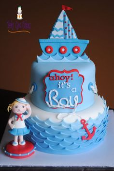 Nautical Baby Shower Two Tier Nautical themed baby shower cake with big sister saluting! Two tier 6 & 8 is covered in fondant with. Cupcakes, Cupcake Cakes, Cupcake Ideas, Nautical Cake, Nautical Theme, Christening Cake Boy, Beach Cakes, Baby Shower Cakes For Boys, Novelty Cakes