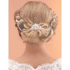 Arianna Elegant Diamante and Crystal Bridal Hair Comb with Drapes AR520