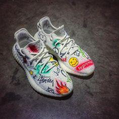 Custom Yeezys with permanent Markers   ❤️ : #DopeKickz