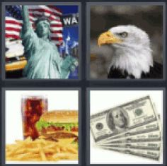 4 pics 1 word motorcycle bunch of matches one burned asleep on 4 pics 1 word statue of liberty eagle burger and french fries american expocarfo Image collections