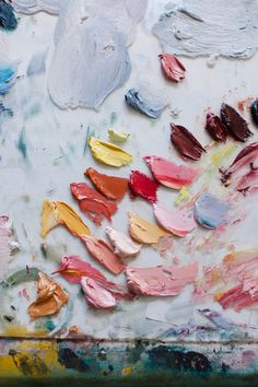 Behind the scenes look at a colorful paint palette. These colors give me so much abstract artwork inspiration Art And Illustration, Collage Kunst, Theme Color, Foto Art, Textures Patterns, Art Paintings, Color Inspiration, Moodboard Inspiration, Art Inspo
