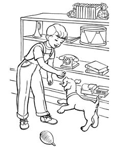 Pet Dog Coloring Pages Boy And Play Ball Featuring Hundreds Of Fun