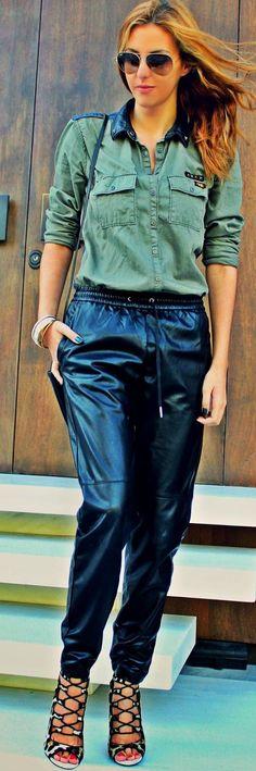 Black Loose Fit Pu Leather Slacks #Pearls