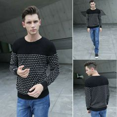 Men's Spot Round Neck Long Sleeve Knitwear Sweater via martEnvy. Click on the image to see more!
